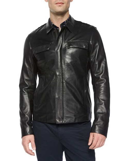 Raw-Edge Leather Jacket by Vince in The Flash - Season 2 Episode 7