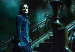 Custom Made Stand Collar Velvet Victorian Gown by Kate Hawley (Costume Designer) in Crimson Peak