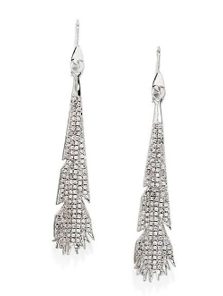 Plume Pavé Crystal Drop Earrings by Eddie Borgo in Southpaw