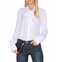 Tie Neck Blouse by Frame Denim in Powerless