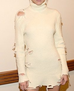 Season 3 Collection Distressed Sweater Dress by Yeezy in Keeping Up With The Kardashians