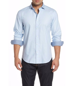 Shaped Fit Check Sport Shirt by Bugatchi in Empire