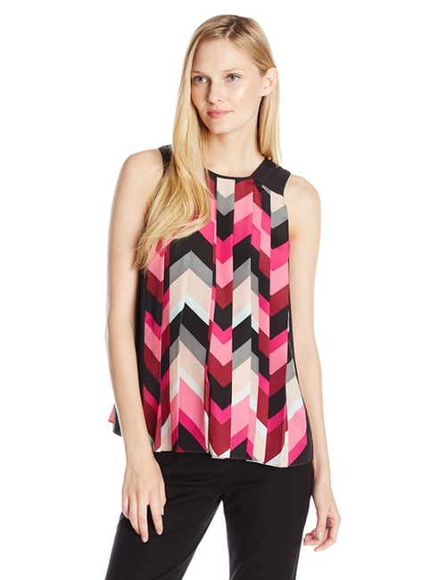Women's Sleeveless Herringbone Pleated Blouse by Vince Camuto in Pretty Little Liars