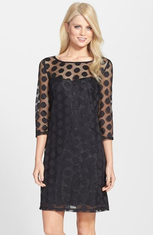 Dot Mesh Shift Dress by Betsey Johnson in Only God Forgives