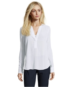 White Georgette Trapunto Detail V-Neck Blouse by Vince in A Walk in the Woods