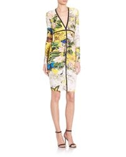 Ruched V-Neck Floral-Print Sheath Dress by Roberto Cavalli in Baywatch