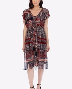 Printed Ruffled Dress by Lucky Brand in Grace and Frankie