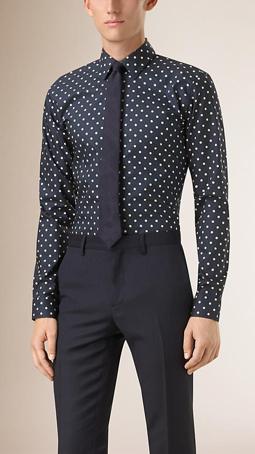 Slim Fit Polka Dot Cotton Shirt by Burberry in Jessica Jones - Season 1 Episode 6