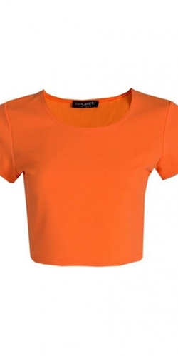 Womens Fluro Crepe Cap Sleeve Crop Top by Juliet's Kiss in Mean Girls