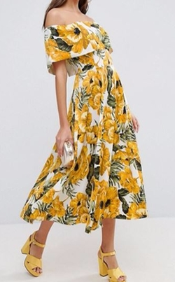 Golden Floral Bardot Midi Dress by Asos in The Good Place
