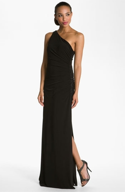 Beaded Panel One-Shoulder Jersey Gown by Laundry by Shelli Segal in She's Funny That Way