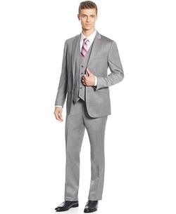 Sharkskin Slim-Fit Vested Suit by Kenneth Cole Reaction  in The Bachelorette