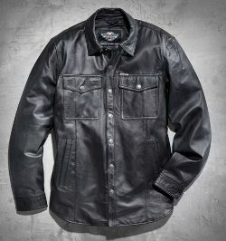 Men's Long-Sleeve Leather Shirt Jacket by Harley Davidson in Vice