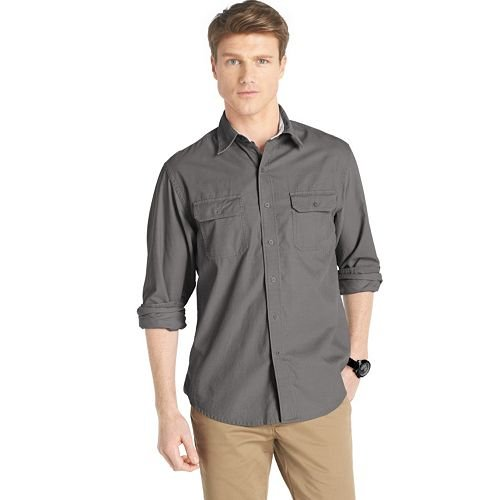 Solid Corduroy Casual Button-Down Shirt by Izod in Warm Bodies