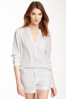 Half Placket Silk Blend Blouse by Vince in The Visit