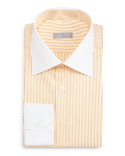 Contrast-Collar Striped Dress Shirt by Stefano Ricci in Ballers - Season 1 Episode 5
