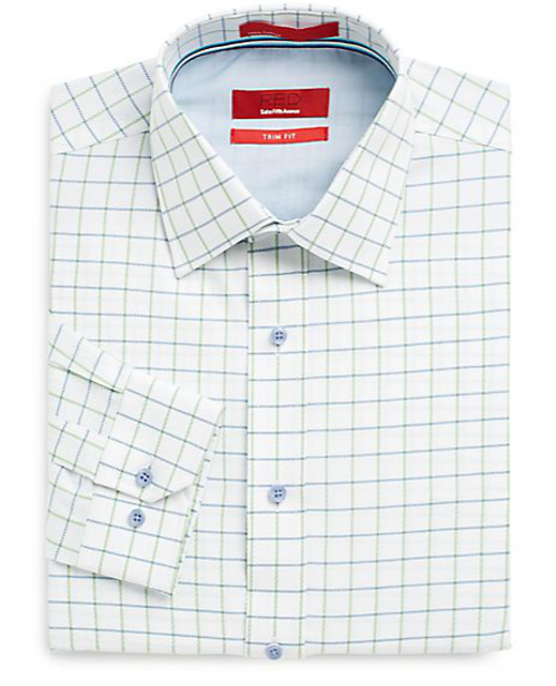 Trim-Fit Windowpane Plaid Dress Shirt by Saks Fifth Avenue RED in We're the Millers