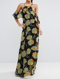 Cold Shoulder Floral Cami Maxi Dress by Asos in The Good Place