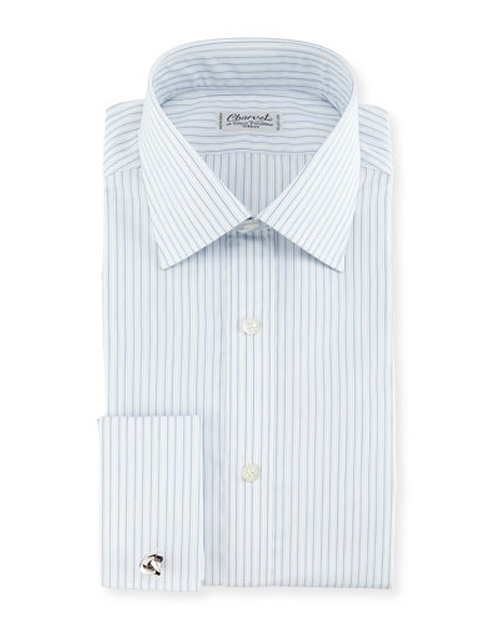 Shadow Striped French-Cuff Dress Shirt by Charvet	 in The Boy
