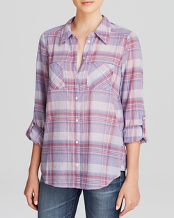 Aidan Vibrant Plaid Button Down Shirt by Joie in The Big Bang Theory