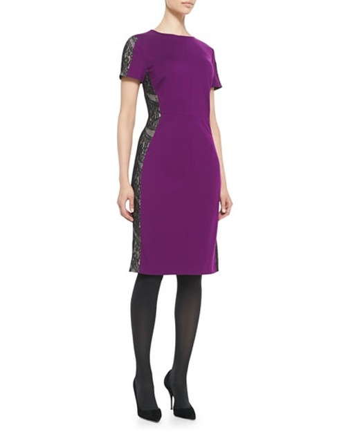 Lace-Panel Ponte Sheath Dress by Magaschoni in The Mindy Project - Season 4 Episode 13