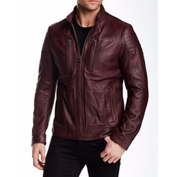 Naquinn Leather Jacket by Hugo Boss in Arrow
