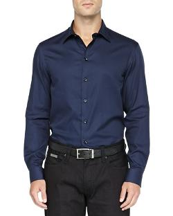 Textured Solid Dress Shirt, Navy by Armani Collezioni in John Wick