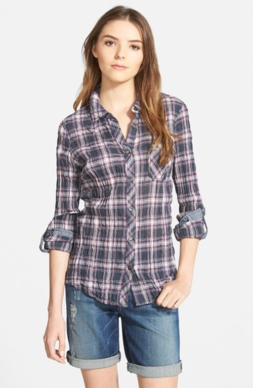 Contrast Trim Plaid Roll Sleeve Crinkle Cotton Shirt by Nexx in Jem and the Holograms