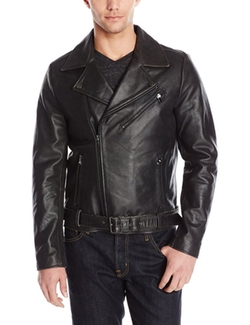Men's Clean Leather Moto Jacket by Kenneth Cole New York in Once Upon a Time