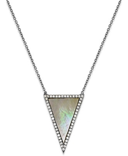 Crystal Triangle Pendant Necklace In Sterling Silver by Studio Silver in The Vampire Diaries