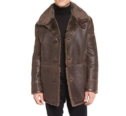 Leather Shearling-Lined Coat by Vince in Atomic Blonde