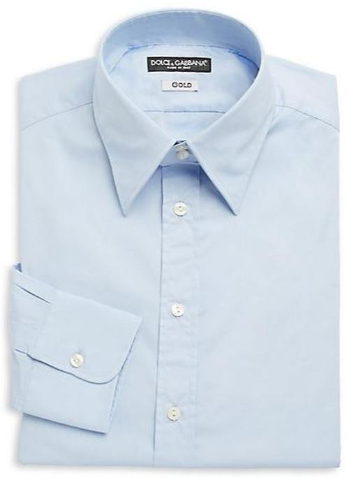 Regular-Fit Stretch Cotton Woven Dress Shirt by Dolce & Gabbana in Blackhat