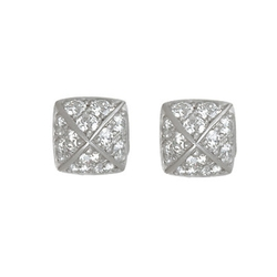 Diamond La Pyramide Trois Stud Earrings by Linda Lee Johnson in Empire