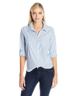 Women's Cartel Striped Cotton Button Down Shirt by Joie in A Walk in the Woods