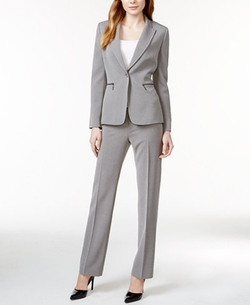 Zip-Pocket Textured Pantsuit by Tahari ASL in Bad Moms