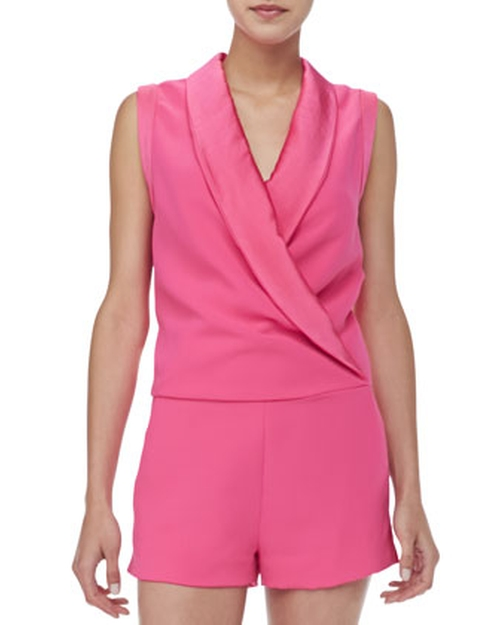 Satin-Collar Sleeveless Jumpsuit by L'Agence in Pretty Little Liars - Season 6 Episode 13