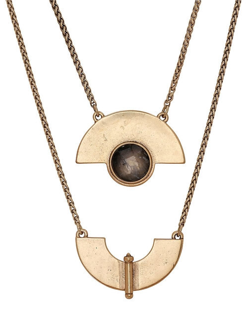 Goldtone Geo Labordorite Necklace by Lucky Brand in The Flash - Season 2 Episode 5