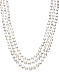 Cultured Freshwater Pearl Three-Strand Necklace in Sterling Silver by Belle de Mer in Scandal
