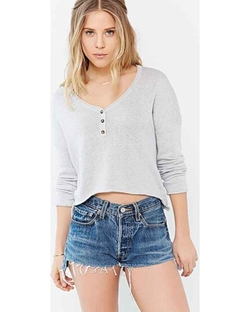 Mouchette Cropped Henley Top by Urban Outfitters in Arrow