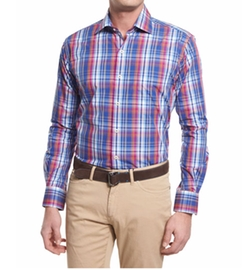 Melange Plaid Long-Sleeve Sport Shirt by Peter Millar in Power Rangers