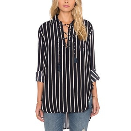 Stevie Tilbury Stripe Shirt by Faithfull The Brand in Keeping Up With The Kardashians - Season 11 Episode 11