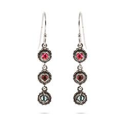 3 Stone Custom Birthstone Sterling Silver Dangle Earrings by Eves Addiction in Vampire Academy