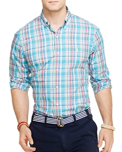 Plaid Poplin Button Down Shirt by Polo Ralph Lauren in Modern Family