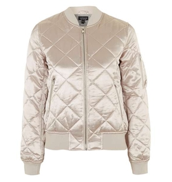Quilted Shiny Ma1 Bomber Jacket by Topshop in Scream Queens