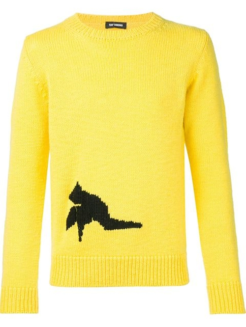 Contrasting Intarsia Detail Sweater by Raf Simons in Eddie The Eagle
