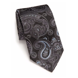 Medallion Paisley Silk Tie by Ike Behar in Gold