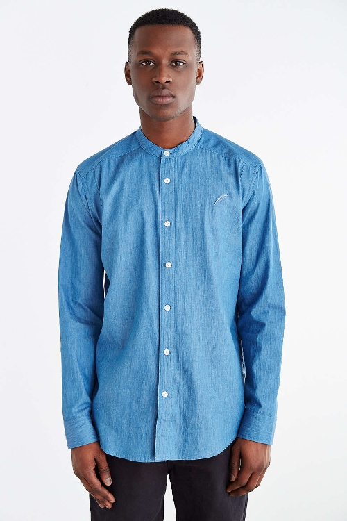 Mandarin Collar Denim Button-Down Shirt by Publish in No Escape