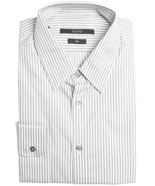 Striped Cotton Point Collar Dress Shirt by Gucci in Youth