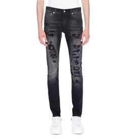 Contrast-Underlay Destroyed Skinny Jeans by Alexander McQueen in Shadowhunters
