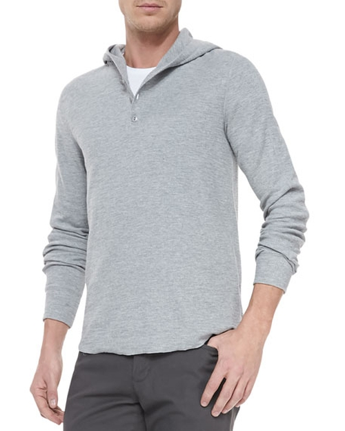 Slub-Knit Hooded Henley Shirt by Vince in Pretty Little Liars - Season 6 Episode 13